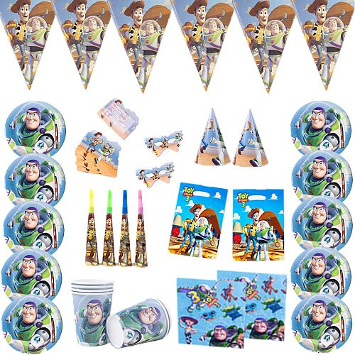 Toy Story Theme Party Supplies Disney Cartoon Figure Party Disposable  Tableware Set Paper Cups Plate Straw Blue Number Balloons