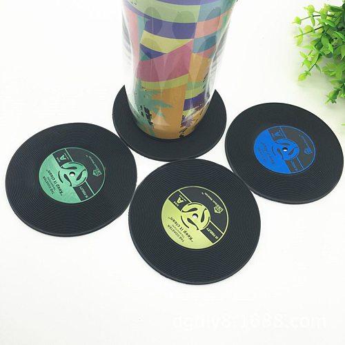 1/4Pcs/set  Retro glass coaster set Vinyl Record Drinks Mat Coasters Table Cup Mat Coffee Placemat PVC drinks Home Decor coaster