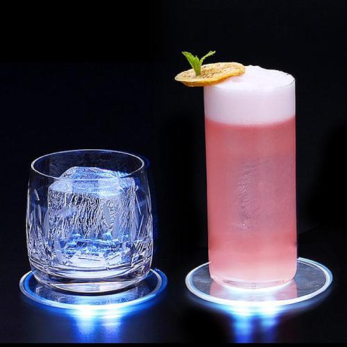 Acrylic Crystal Led Light Coaster Bar Cocktail Coffee Tea Cup Wine Glass Coaster LED Light Coaster Bar Cocktail Flash Base Pads