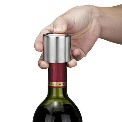 Silver Stainless Steel Vacuum Wine Bottle Stopper Sealed Storage Plug Liquor Flow Stopper Pour Cap Seal Sealant Pump Bar Tools