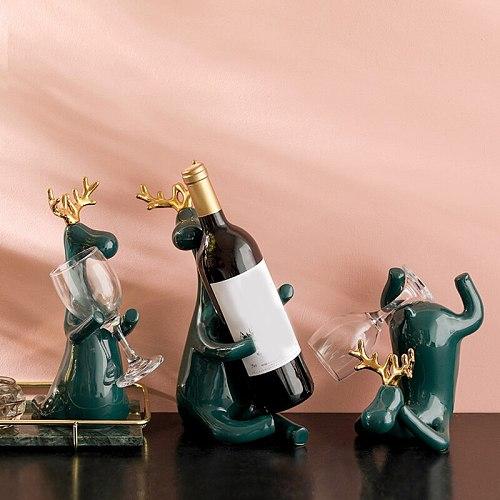 New Elk Wine Rack Wine Bottle Wine Glass Holder Stand Simple And Creative Ceramics Craft Home Living Room Bar Decoration декор