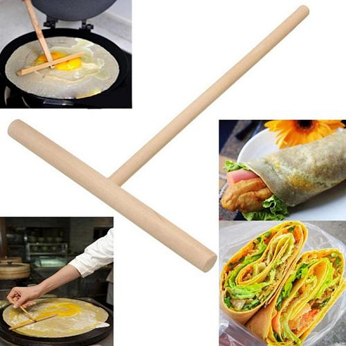 Wooden T Letter Kitchen Tool Stick Spreader Crepe Maker Pancake Batter Conveniet Rack Spreader Home Kitchen Bar Supplies