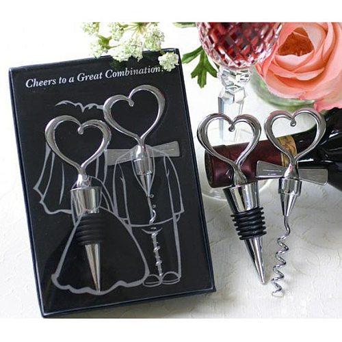 Love Heart Wine Champagne Corkscrew Bottle Opener Set Wine Bottle Stopper Wedding Valentines Decoration Supplies For Home Bars