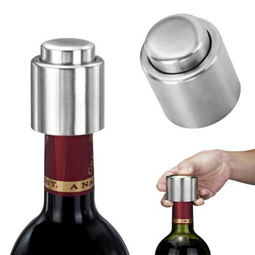 1PCS Stainless Steel Wine Stopper Push-type Bottle Cap Keep The Fresh Vacuum Protector Restaurant Hotel Club KTV Bottle Stopper