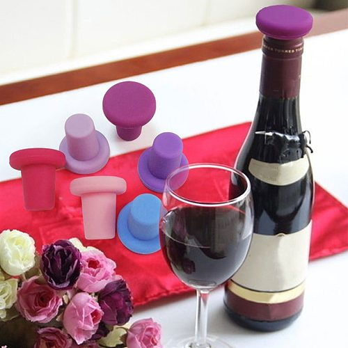 Food Grade Silicone Red Wine Bottle Lid Beer Stopper Caps Bar Tool Durable Sealed Cork Cap Cover for Oil Wine Vinegar Liquid