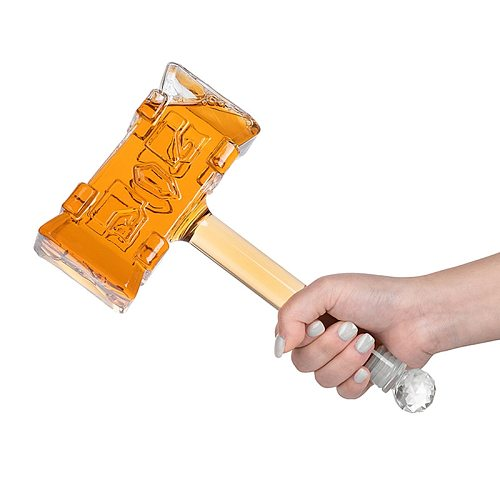400 ml creative 3D hammer shaped home bar lead-free glass whiskey decanter for Liquor Scotch Bourbon DDC-203