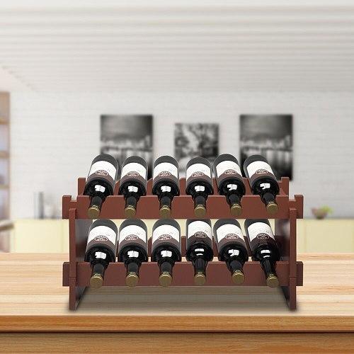 2-Tier Stackable Wine Rack  Holds 12 Bottles, Classic Style Wine Racks for Bottles  Perfect for Bar  Wine Cellar  Basement