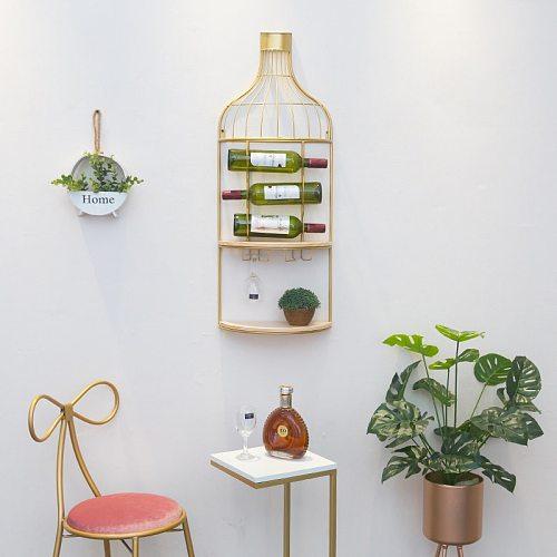 Creative iron hanging wine rack  Decoration wine cabinet hanging type  Tall frame  Wine rack Creative Red Wine Rack