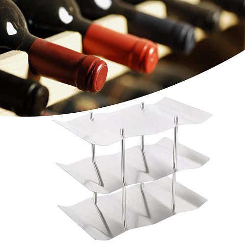 3-Tier Stainless Steel Wine Rack Freestanding Wavy Wine Holder Display Shelf for Displaying Wine Kitchen Accessories