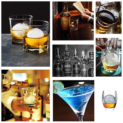4 HoleIs Ice Cavity Whiskey Ball Maker Mold Sphere Round Whiskey Mold Tool DIY Silicone Ice Ball Mold Ice Grid Round Ice Ball