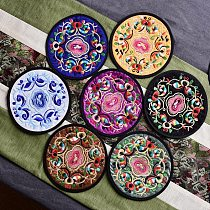 16 Types Chinese Creative Circular Embroidery Cloth Cup Mats Round Slip Slice Coasters Coffee Mug Mat for Tableware Durable Pad