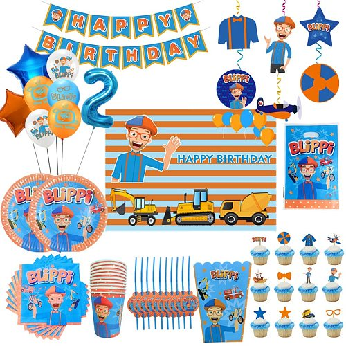 Blippi Theme Party Decoration Happy Birthday Party Supplies Paper Cups Plates Banner Straw Balloons Kids Toys Boy Baby Shower
