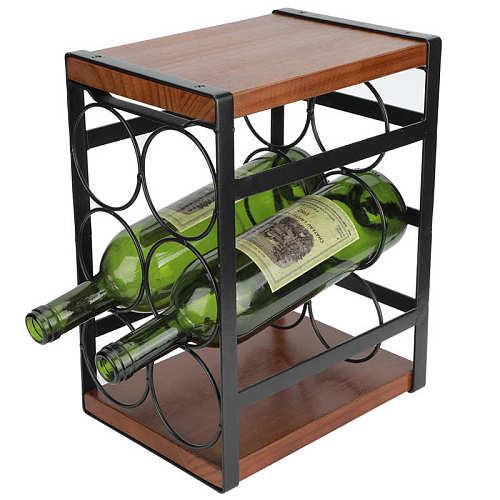 3 Tier Wrought Iron Wine Rack Kitchen Countertop 6 Bottles Wine Storage Rack Organizer Holder Stand Wine Display Stand