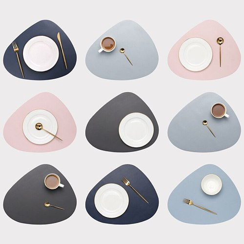 Leather Placemat Tableware Pad Oil Water Resistant Heat Insulation Non-Slip Tablemat Coaster Kitchen Accessories Cup Wine Mat