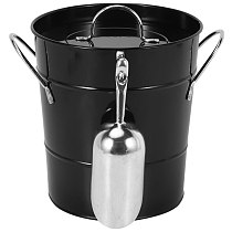 Thickened Tin Bucket with Lid Ice Bucket Portable Round Small Ice Bucket Bar Beer Bucket Ice Cube Container