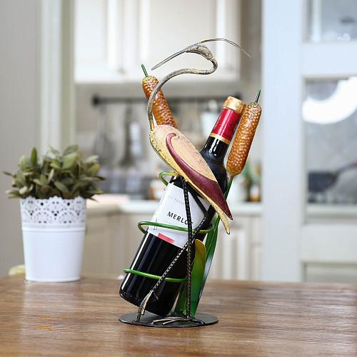Tooarts Wild Crane Wine Rack Decorative Wine Rack holder Iron Material Store Rack Home Desk Decor Natural Pastoral Style