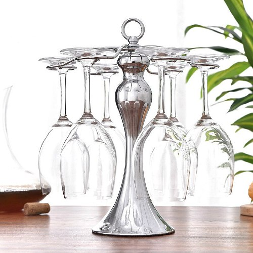 Creative Beauty Thin Waist Cup Holder Can Hang 6 Pcs Goblet Wine Rack Metal Durable Bar Chateau Wine Accessories Storage Tools
