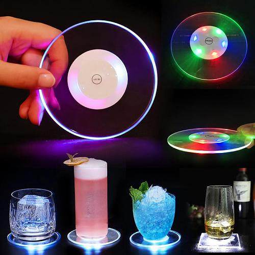 New Bottle Stickers Ultra-Thin Led Light Coaster Bar Cocktail Flash Base Place Mat Coffee Wine Glass Halloween Decoration Lights