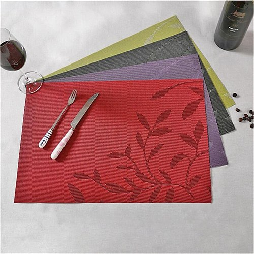 PVC Leaf Pattern Placemats For Dining Table Cup Wine Dish Mat Placemat In Bowls Coasters Kitchen Dinning Table Place Mats