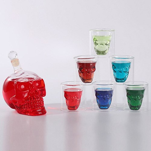 Skull Head Glass Bottle Cup Set Shot Whiskey Vodka Wine Cocktail Mugs Tea Double Walls Layers Drinking Shots Glasses Decanters