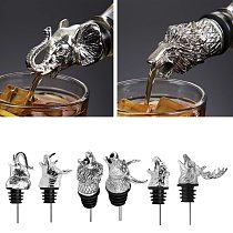 Wine Champagne Pourer Decanter Animal Head Shaped Wine Caps Sealers Silvery Bartender Kitchen Tools Bar Accessories