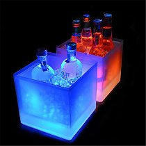 LED Ice Bucket 3.5l LED Cooler Bucket Colorful Changing Double Layer Square Ice Tray For Bar Beer Champagne Wine Drinks Beer #T3