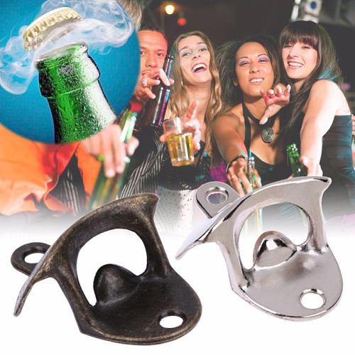 Bottle Beer Openers Bronze Metal Wall Mounted Wine Opener Practical Bar Tool Can Opener Kitchen Gadgets Abridor De Lata