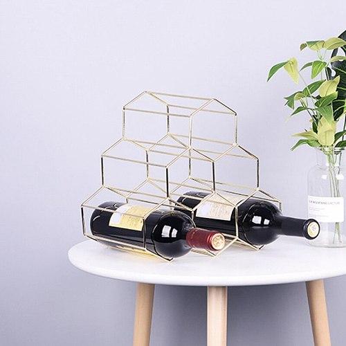 Golden Wine Rack Creative Honeycomb Wine Rack Home Iron Storage Rack Ornaments