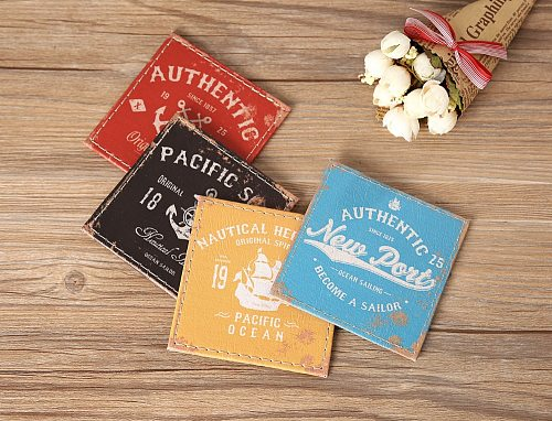 LINKWELL Set of 4 10x10cm Vintage Authentic Pacific Soul Anchor PU Leather Round Bar Coaster Table Cup Holder Drink Placemat Mat