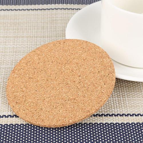 2Pcs Coffee Cup Mat Round Cork Coasters Set  Drink Tea Pad Placemats Decor Heat Insulation Pot Holder Mats Wine Table Mats