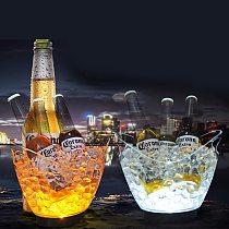 New Waterproof LED Ice Bucket Nightclub Bar Party Champagne Wine Bucket 6 Color Transparent Light Wine Barrel 5 Color