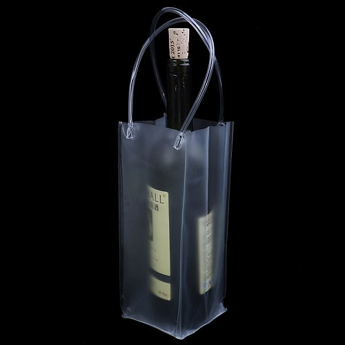 New1X Durable Clear Transparent PVC Champagne Wine Ice Bag Pouch Cooler Bag with Handle hot sale