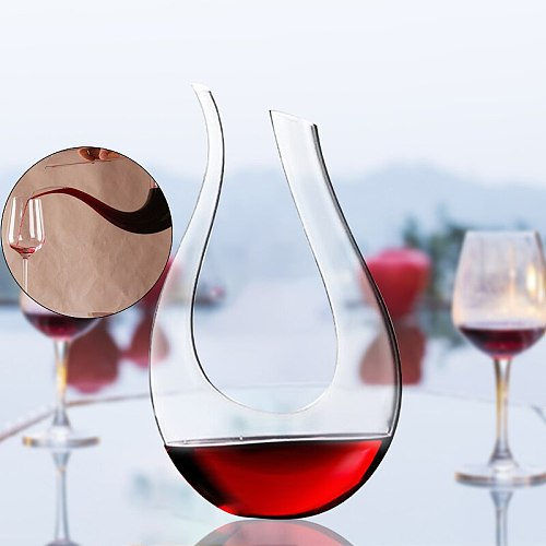 1500ml U Shaped Crystal Glass Horn Red Wine Decanter Wine Pourer Wine Container Champagne Water Bottle Drinking Glasses Gift
