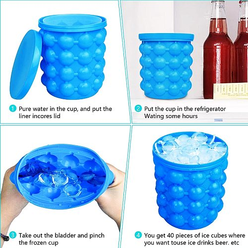 1pcs Portable 2 in 1 Large Silicone Ice Bucket Mold with Lid Space Saving Cube Maker Tools for Kitchen Party Barware