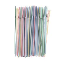 Colorful 100PCS/set 21cm Curved Plastic Drinking Straw Cocktail Lounge Wedding Birthday Party