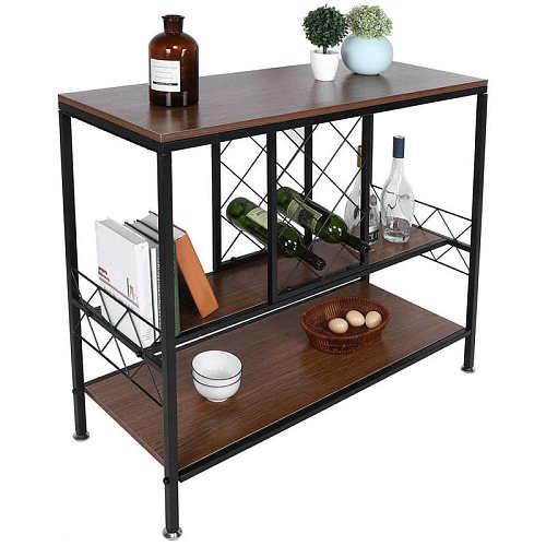 3-Layer Wine Rack Table with Glass Holder Wine Cabinets Organizer Home Living Room Bar Supply bathroom organizer