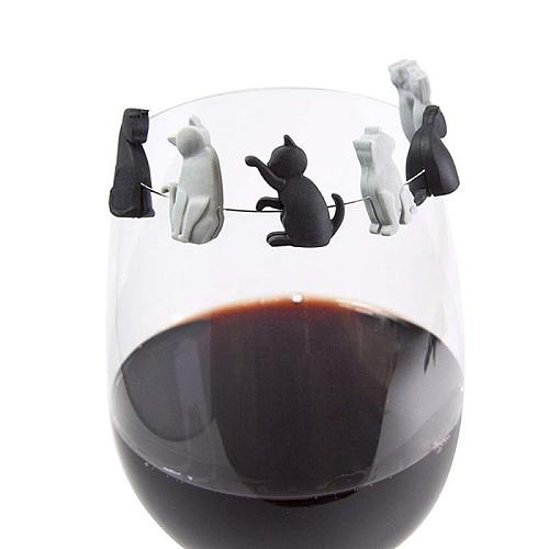 6pcs Kitten Wine Cup Recognizer Tea Bag Hanging Meow Wine Glass Markers Plastic Distinguisher Barware Accessories Dropshipping