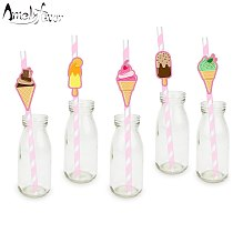 Ice Cream Party Paper Straws Tea Time Icecream Decorations Party Supplies Paper Drinking Straws Event Supplies