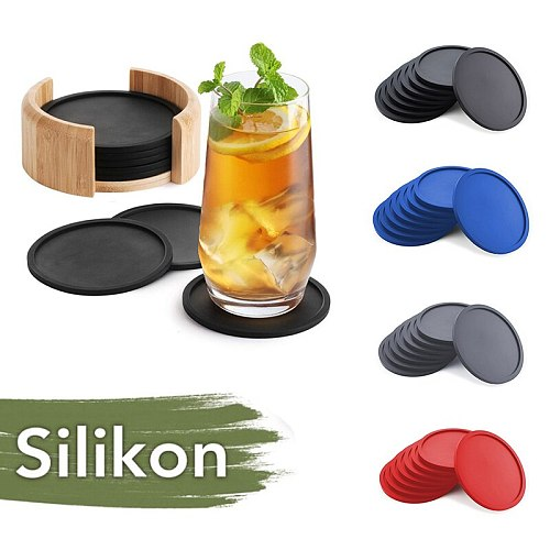 1PC Coaster Color Popular Silicone Coaster Reusable High Quality Heat-resistant Round Wine Beer And Beverage Coaster Bar Tools