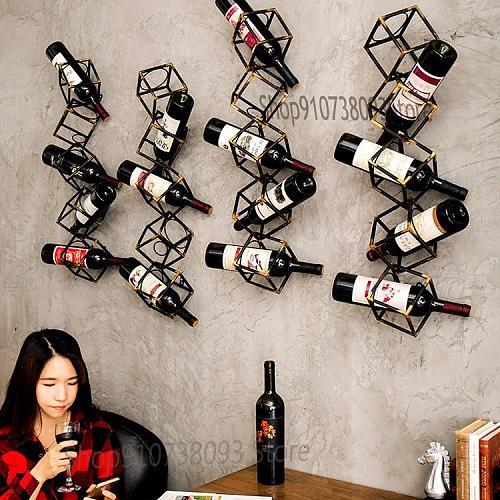 Modern retro old wall-mounted wine rack, metal wrought iron creative geometric shape bar counter wine rack