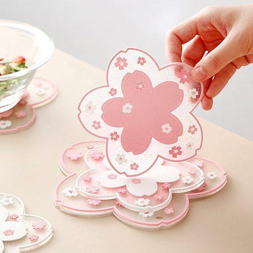 1PC Japanese Sakura Insulation Table Mat Home Office PVC Non-slip Tea Mug Milk Coffee Cup Coaster Heat Resistant