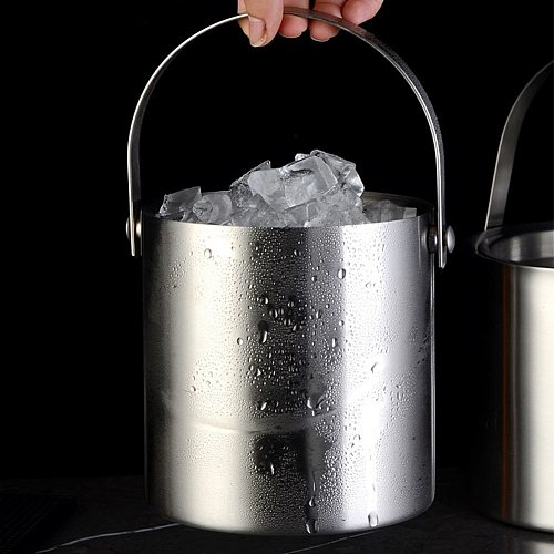 Barware Stainless Steel Wine Cooler Ice Bucket 2L With Handle With Lid Bar Insulated Easy Clean Large Capacity Double Wall Party