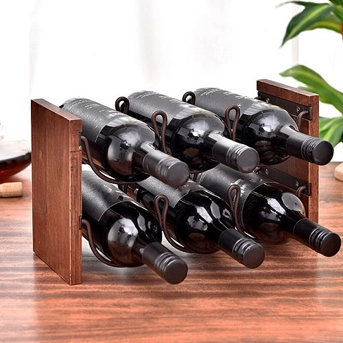2 Tier Wine Rack, Tabletop Wine Holder Freestanding Wine Storage with Metal Wood Frame Countertop Wine Shelf for Home