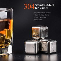 8Pcs Stainless Steel Ice Cubes,  Reusable Chilling Stones for Whiskey Wine, Keep Your Drink Cold Longer,Party Bar Tools
