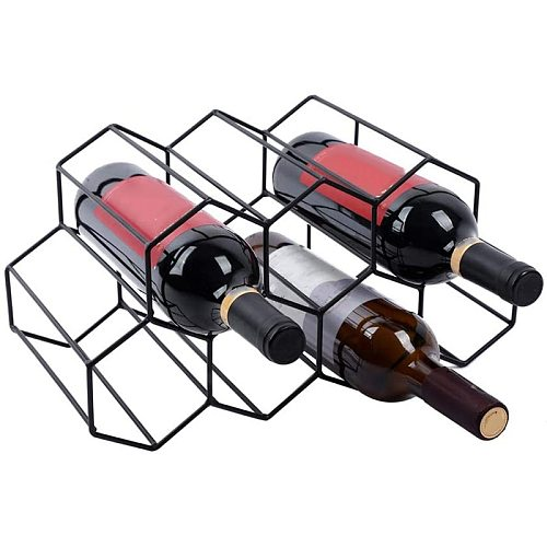 Black Honeycomb Countertop Type 7-Hole Space-Saving Red and White Wine Rack Home Living Room Wine Rack Decoration