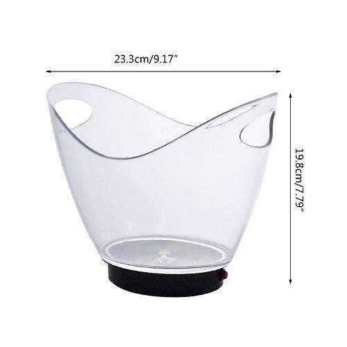 Transparent Colorful LED Light Gradient Ice Bucket Bar Wine Trough Glass Holder
