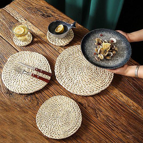 Natural Rattan Corn Straw Woven Handmad wine table Insulation Mats doilies Kitchen wedding deco Anti-scald Coaster accessories