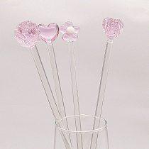 4pcs Handmade lovely pink Heart, rose, flower shape decorative glass Drink Stir Swizzle Sticks Frozen Drink Cocktail Bar Stirrer