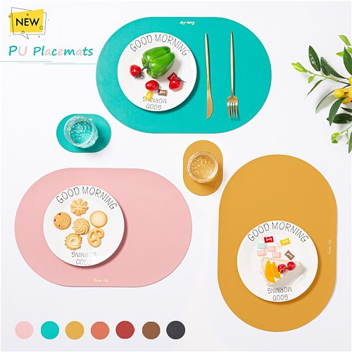 Luxury PU Placemats for Table Waterproof Non-Slip Leather Place Mat Set Kitchen Napkins High Quality Coaster Cup Wine Mat