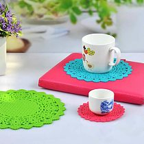 Silicone Coaster Lace Flower Hollow Doilies Coffee Table Cup Mat Pad Placemat Kitchen Accessories Cooking Tools Decoration